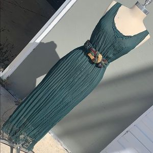 Vintage crushed pleated sheer green maxi dress